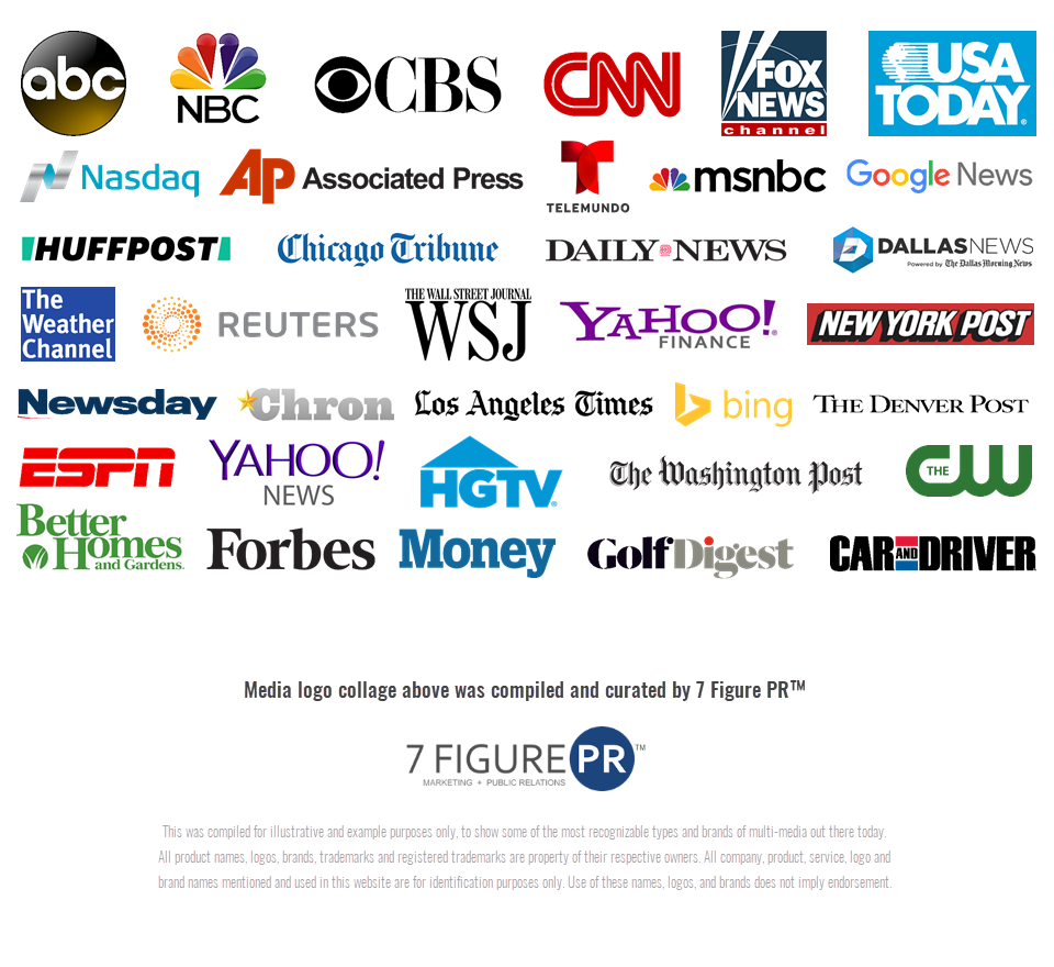 Media Coverage Logo Collage Infographic by 7 Figure PR